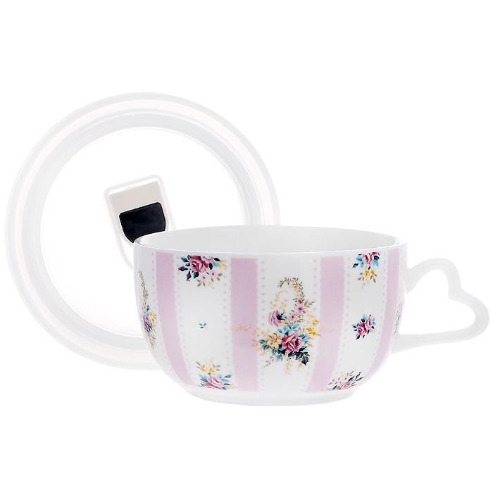 Бульонница Розовый Муар с вакуумной крышкой, цвет: белый. 574-539574-539Бульонница Розовый Муар, изготовленная из высококачественного фарфора, декорирована орнаментом и изображением цветов. Она снабжена пластиковой вакуумной крышкой с внутренним уплотнительным кольцом из силикона. С такой бульонницей ваши супы будут оставаться горячими еще дольше. Можно использовать в микроволновой печи, духовом шкафу (без крышки), хранить в холодильнике и мыть в посудомоечной машине. Характеристики: Материал: фарфор, пластик, силикон. Цвет: белый. Диаметр бульонницы по верхнему краю: 12 см. Высота бульонницы: 7 см. Размер упаковки: 14 см х 13,5 см х 7,5 см. Артикул: 574-539.