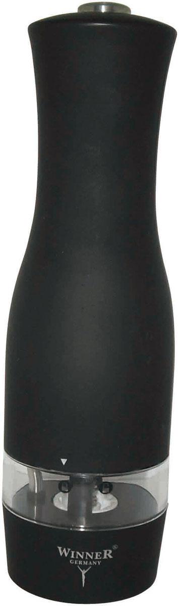 Мельница для перца Winner, электрическаяWR-4002Электрическая мельница для перца Winner предназначена для перемола всех видов перца, крупной соли и других специй. Она имеет керамический механизм помола. Корпус выполнен из пластика черного цвета со стеклянной емкостью. Винтовой механизм внизу корпуса используется для регулировки величины помола. При его повороте до упора достигается наименьшая величина помола. Для включения прибора необходимо держать нажатой верхнюю кнопку, для отключения - отпустить кнопку. Мельница оснащена подсветкой. Работает от шести батареек типа ААА. В комплекте - инструкция по эксплуатации. Такая мельница не только поможет вам с приготовлением пищи, но и стильно украсит любую кухню и станет полезным подарком.