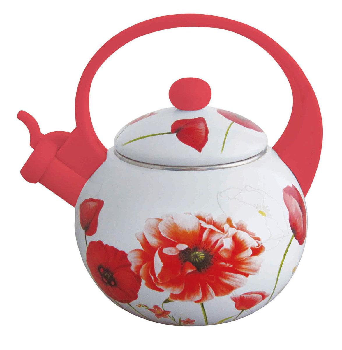 Чайник Winner, со свистком, цвет: белый, красный, 2 л94672Чайник Winner выполнен из углеродистой стали с эмалированной поверхностью (внутри и с наружи) и оформлен ярким изображением красных маков. Носик чайника имеет откидной свисток (фиксируется в открытом виде), звуковой сигнал которого подскажет, когда закипит вода. Ручка и свисток выполнены из бакелита красного цвета. Изделие подходит для использования на всех видах плит, включая индукционные. Рекомендуется ручная чистка. Характеристики:Материал:углеродистая сталь, бакелит. Объем:2 л. Цвет: белый, красный. Диаметр основания чайника: 14 см. Высота чайника (без учета ручки):12 см. Толщина стенки: 0,8 мм. Размер упаковки: 19,5 см х 19,5 см х 22,5 см. Производитель: Германия. Изготовитель: Китай. Артикул: WR-5101.