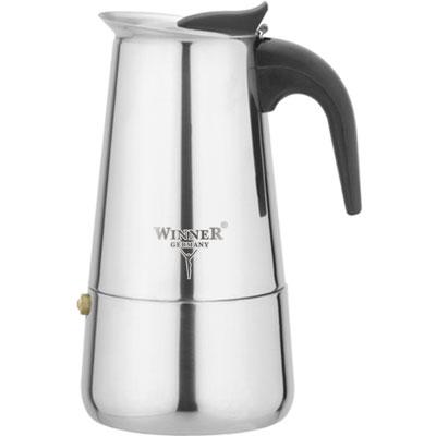 Кофеварка гейзерная Winner WR-4250, 0,2 лWR-4250Гейзерная кофеварка такого типа была изобретена в 1827 году парижским ювелиром Ганде. В его кофеварке вода поднималась по трубке, вставленной в рукоятку, и распылялась над молотым кофе. Вскоре другой французский изобретатель Дюран усовершенствовал кофеварку Ганде таким образом, что кипяток стал подниматься по центральной трубке, а потом многократно распыляться над порошком кофе. Со временем конструкция гейзерных кофеварок усложнилась, в ней появились электронагревательные элементы, клапаны и подвижные шайбы, однако принцип ее действия остался тем же. Принцип работы различных моделей гейзерных кофеварок одинаков - кофе заваривается путем многократного прохождения горячей воды или пара через слой молотого кофе. Удобство такой кофеварки также в том, что вся кофейная гуща остается во втором контейнере. Гейзерные кофеварки пользуются большой популярностью благодаря изысканному аромату. Кофе получается крепкий и насыщенный. Кофеварка Winner WR-4250 полностью изготовлена...