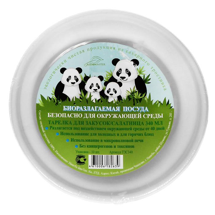 Набор био-тарелок для закусок Greenmaster, цвет: белый, 340 мл, 10 штТЗС340Набор Greenmaster состоит из 10 био-тарелок для закусок. Биоразлагаемая посуда, полученная из сахарного тростника, является экологически чистой и абсолютно безопасной для окружающей среды. Разлагается под воздействием окружающей среды от 40 дней. Используется для холодных и для горячих блюд. Можно использовать в микроволновой печи. Без канцерогенов и токсинов. Материал: сахарный тростник 100%. Объем тарелок: 340 мл. Размер тарелки: 15,2 см х 4,56 см х 15,2 см. Комплектация: 10 штук.