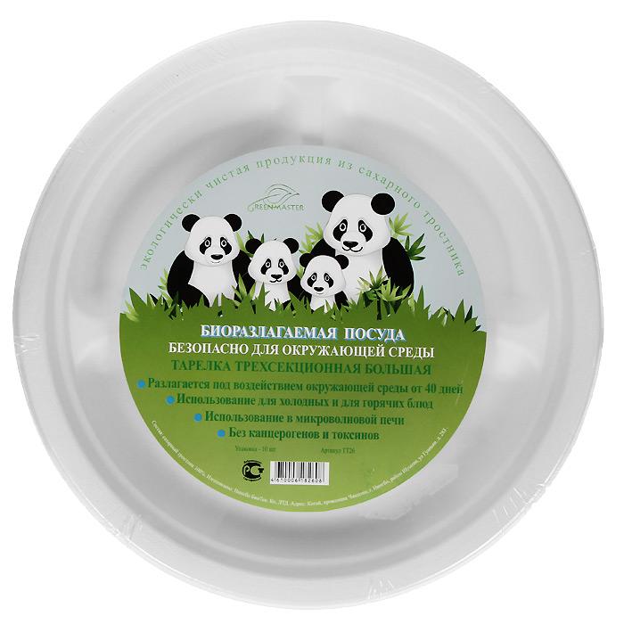 Набор круглых био-тарелок Greenmaster, три секции, цвет: белый, диаметр 26 см, 10 шт2788Набор Greenmaster состоит из 10 круглых био-тарелок. Биоразлагаемая посуда, полученная из сахарного тростника, является экологически чистой и абсолютно безопасной для окружающей среды. Разлагается под воздействием окружающей среды от 40 дней. Используется для холодных и для горячих блюд. Можно использовать в микроволновой печи. Без канцерогенов и токсинов.Материал: сахарный тростник 100%.Размер тарелки: 26 см х 2,6 см х 26 см.Комплектация: 10 штук.