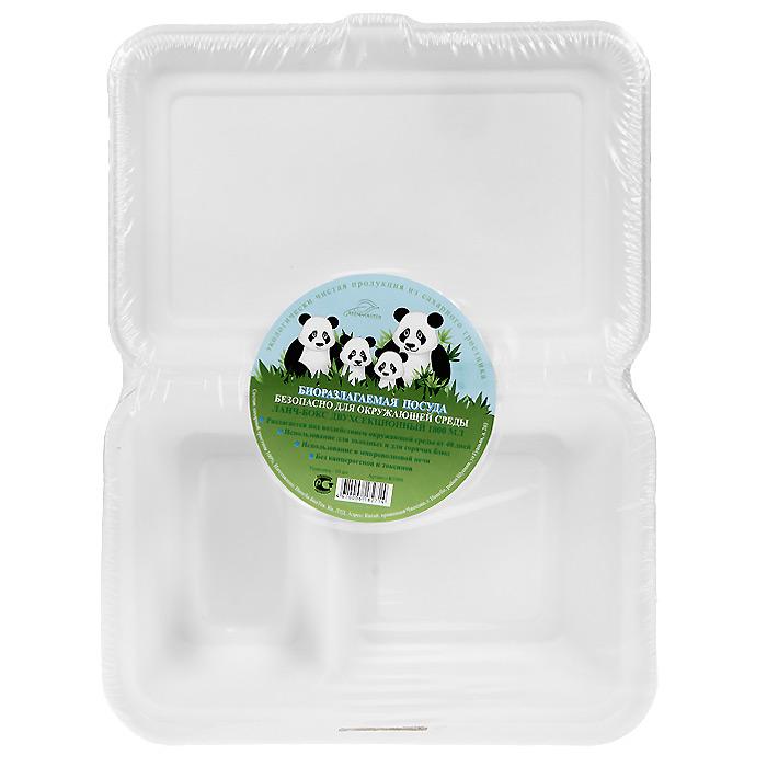 БИО-Ланч-бокс двухсекционный, цвет: белый, 1000 мл, 10 штК1000Биоразлагаемая посуда, полученная из сахарного тростника, является экологически чистой и абсолютно безопасной для окружающей среды. Разлагается под воздействием окружающей среды от 40 дней. Используется для холодных и для горячих блюд. Можно использовать в микроволновой печи. Без канцерогенов и токсинов.