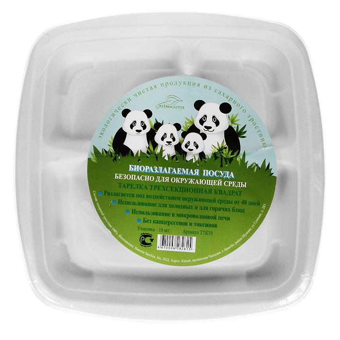Набор квадратных био-тарелок Greenmaster, три секции, цвет: белый, 19 х 19 см, 10 штТТК19Набор Greenmaster состоит из 10 квадратных био-тарелок. Биоразлагаемая посуда, полученная из сахарного тростника, является экологически чистой и абсолютно безопасной для окружающей среды. Разлагается под воздействием окружающей среды от 40 дней. Используется для холодных и для горячих блюд. Можно использовать в микроволновой печи. Без канцерогенов и токсинов. Материал: сахарный тростник 100%. Размер тарелки: 19 см х 19 см х 2,5 см. Комплектация: 10 штук.