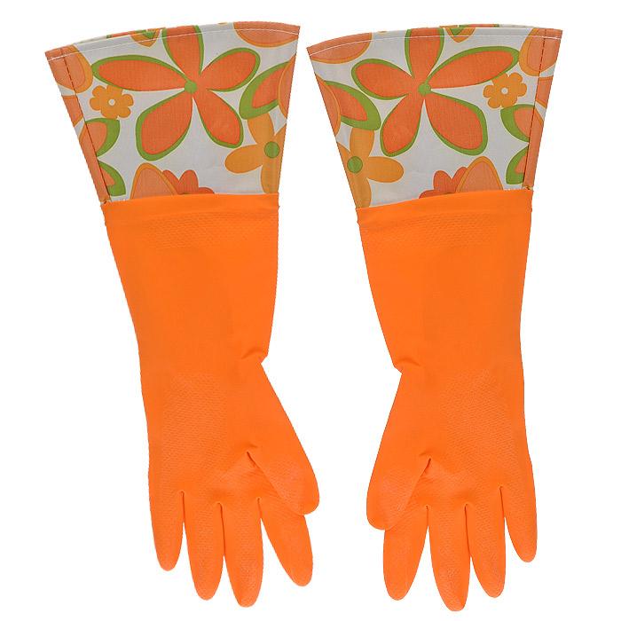 Феникс-Презент Перчатки латексные, с манжетой из полиэстера и внутренним хлопковым напылением. Размер М. 29492
