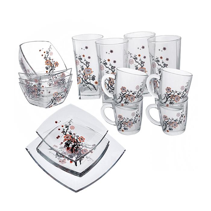 Набор для завтрака Сакура, 17 предметов95161BDНабор для завтрака Сакура изготовлен из высокопрочного прозрачного стекла, благодаря чему посуда будет использоваться очень долго, при этом сохраняя свой внешний вид. Набор состоит из четырех тарелок, четырех кружек, четырех стаканов, четырех салатников и одного блюда. Все предметы набора декорированы изображением в виде ветки сакуры. Благодаря такому набору ваш завтрак будет еще вкуснее. Практичный и современный дизайн делает набор довольно простым и удобным в эксплуатации. Данную посуду нельзя использовать в микроволновой печи. Можно использовать в посудомоечной машине без использования абразивных средств. Можно хранить в холодильнике. Характеристики: Материал: натрий-кальций силикатное стекло. Диаметр кружки по верхнему краю: 8,5 см. Высота кружки: 9,5 см. Размер салатника: 12 см х 12 см. Высота стенок салатника: 7 см. Размер тарелки: 19 см х 19 см. Высота стенок тарелки: 2 см. Размер блюда: 26 см х 26 см. Высота...