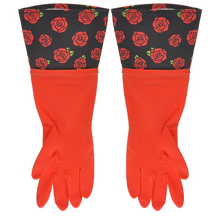 Перчатки резиновые, с манжетой из ПВХ, цвет: красный. Размер М. 2948510503Хозяйственные перчатки, выполненные из резины, идеально подойдут для всех видов хозяйственных работ. Они бережно и надежно предохранят нежную кожу рук от агрессивной внешней среды, такой, как жесткая водопроводная вода и моющие средства. Высокие манжеты, оформленные изображением роз, защищают рукава от грязи и влаги и не дадут воде попасть внутрь.
