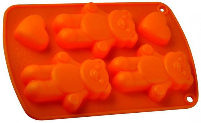 Форма для выпечки и заморозки Три медведя, силиконовая, цвет: оранжевый.93-SI-FO-64Силиконовая форма для выпечки и заморозки продуктов предназначена для изготовления конфет, мармелада, желе, льда, выпечки и т.д. Состоит из трёх ячеек в форме медвежат и двух - в форме маленьких сердечек. Оригинальный способ подачи изделий не оставит равнодушным родных и друзей. Силиконовые формы Regent Inox Silicone выдерживают высокие и низкие температуры (от - 40 до +230 градусов). Они эластичны, износостойки, легко моются, не горят и не тлеют, не впитывают запахи, не оставляют пятен. Силикон абсолютно безвреден для здоровья. Характеристики: Материал: силикон. Общий размер формы: 21 см х 13 см х 2 см. Размер ячейки Медвежонок: 8,5 см х 6 см х 1 см. Размер ячейки Сердечко: 3,5 см х 3,5 см х 1 см. Размер упаковки: 30 см х 14,5 см х 2 см. Производитель: Италия. Артикул: 93-SI-FO-64.