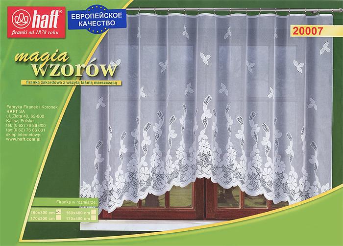 Гардина Haft, на ленте, цвет: белый, высота 160 см. 505693505693Воздушная гардина Haft, изготовленная из полиэстера белого цвета, станет великолепным украшением любого окна. Оригинальный цветочный рисунок и нежный орнамент привлечет к себе внимание и органично впишется в интерьер комнаты. В гардину вшита шторная лента. Характеристики: Материал: 100% полиэстер. Размер упаковки: 37 см х 28 см х 3 см. Цвет: белый. Артикул: 505693. В комплект входит: Гардина - 1 шт. Размер (Ш х В): 300 см х 160 см. Текстильная компания Haft имеет богатую историю. Основанная в 1878 году в Польше, эта фирма зарекомендовала себя в качестве одного из лидеров текстильной промышленности в Европе. Еще в начале XX века фабрика Haft производила 90% всех текстильных изделий в своей стране, с годами производство расширялось, накопленный опыт позволял наиболее выгодно использовать развивающиеся технологии. Главный ассортимент компании - это тюль и занавески. Haft предлагает готовые решения для ваших окон, выпуская...
