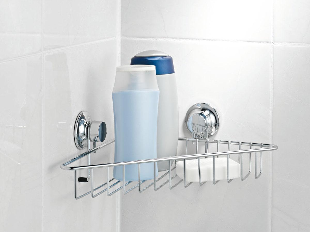 Полка для ванной Tatkraft Swiss Line, одноярусная, угловая, 33,6 см х 23,5 см х 7,5 смES-412Полка Tatkraft Swiss Line просто создана для современной ванной комнаты. Стильная, легкая, она позволит вам сэкономить место и уместить гораздо больше вещей, чем вы можете предположить. Полка препится при помощи 2-х присосок. Характеристики:Материал:металл. Размер:33,6 см х 23,5 см х 7,5 см. Размер упаковкти:9 см х 33 см х 18 см.