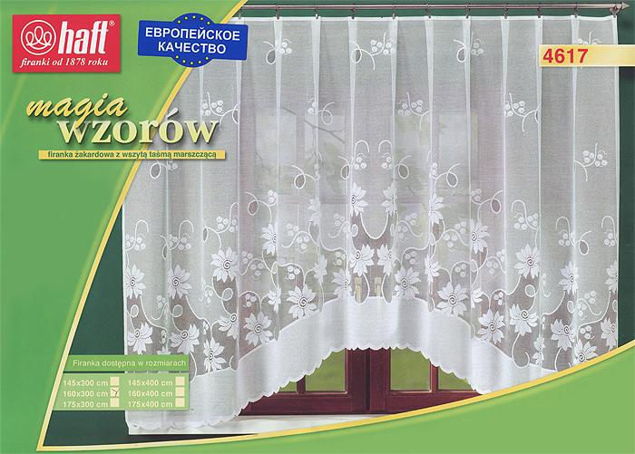 Гардина Haft, на ленте, цвет: белый, высота 160 см. 424406424406Воздушная гардина Haft, изготовленная из полиэстера белого цвета, станет великолепным украшением любого окна. Оригинальный цветочный рисунок и нежный орнамент привлечет к себе внимание и органично впишется в интерьер комнаты. В гардину вшита шторная лента. Характеристики: Материал: 100% полиэстер. Размер упаковки: 37 см х 28 см х 3 см. Цвет: белый. Артикул: 424406. В комплект входит: Гардина - 1 шт. Размер (Ш х В): 300 см х 160 см. Текстильная компания Haft имеет богатую историю. Основанная в 1878 году в Польше, эта фирма зарекомендовала себя в качестве одного из лидеров текстильной промышленности в Европе. Еще в начале XX века фабрика Haft производила 90% всех текстильных изделий в своей стране, с годами производство расширялось, накопленный опыт позволял наиболее выгодно использовать развивающиеся технологии. Главный ассортимент компании - это тюль и занавески. Haft предлагает готовые решения для ваших окон, выпуская...
