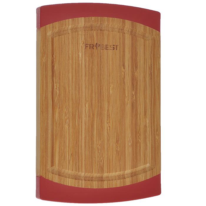 Доска разделочная Frybest Lux, бамбуковая, 18 см х 27 смFY0007Прямоугольная разделочная доска Frybest Lux, выполненная из высококачественной древесины бамбука, станет незаменимым аксессуаром на вашей кухни. Бамбук - инновационный материал, идеально подходящий для разделочных досок. Доски из бамбука обладают высокой плотностью структуры древесины, а также устойчивы к механическим воздействиям. Силиконовая окантовка по краям доски предотвратит ее скольжение по поверхности стола. Доска также имеет углубление для стока жидкости вдоль края. Подходит для резки или рубки мяса и рыбы, а также для сервировки таких блюд, как суши. Функциональная и простая в использовании, разделочная доска Frybest Lux прекрасно впишется в интерьер любой кухни и прослужит вам долгие годы.