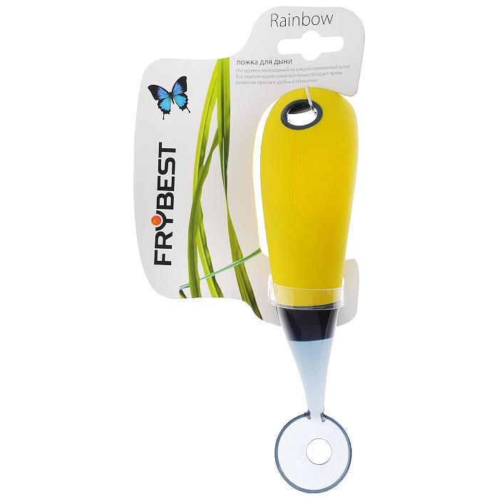 Ложка для дыни Frybest Rainbow, цвет: желтыйZC-42SЛожка для дыни Frybest Rainbow выполнена из прозрачного пластика. Ручка имеет прорезиненную поверхность желтого цвета для более комфортного использования. На ручке также имеется отверстие, благодаря которому ложку можно легко подвесить в удобное для вас место. Ложка очень удобна в использовании: всего одно движение - и перед вами гладкий ровный шарик из дынной мякоти. Ложка для дыни Frybest Rainbow - это яркий и функциональный инструмент, необходимый на каждой кухне. Характеристики: Материал: пластик, резина. Цвет: желтый. Длина ложки: 16,5 см. Диаметр рабочей поверхности: 3 см. Артикул: ZC-42S.