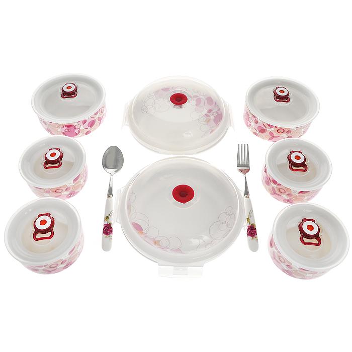 Подарочный набор контейнеров для продуктов Darsto, 10 предметов. 5783A10VT-1520(SR)Набор Darsto, выполненный из высококачественной керамики, состоит из восьми круглых контейнеров разного диаметра с крышками. Вакуумные контейнеры могут использоваться как емкости для хранения пищевых продуктов, а также в качестве салатников или посуды для сервировки стола. Контейнер оснащен пластиковой вакуумной крышкой для длительного сохранения продуктов свежими. Воздух в контейнере сжимается благодаря нажатию на клапан, расположенный на крышке. Открывается контейнер после поднятия клапана. Все контейнеры имеют разный объем, поэтому для удобства хранения их можно складывать друг в дружку по принципу матрешки. Изделия можно использовать в СВЧ-печи, духовых шкафах и холодильнике: выдерживают большие перепады температуры (до 250С). Можно мыть в посудомоечной машине. Внутренняя часть коробки украшено желтым атласом, и каждый предмет надежно закреплен. Эстетичность и необыкновенная функциональность набора Darsto позволит ему стать достойным дополнением к вашему кухонному инвентарю. Характеристики:Материал: керамика, пластик. Объем: 310 мл; 540 мл; 1,2 л. Диаметр контейнеров: 4 шт х 10,8 см; 2 шт х 13,6 см; 2 шт х 16,2 см. Высота контейнеров: 4 шт х 6,3 см; 2 шт х 6,2 см; 2 шт х 6,3 см. Длина ложки: 20 см. Длина вилки: 20 см. Размер упаковки: 45 см х 55 см х 9 см. Производитель: Китай.