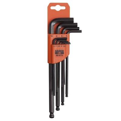 Набор шестигранников Bahco, 9 шт. BE-9770SC-FD421005Набор шестигранников Bahco имеет складной футляр для хранения с маркировкой, который позволяет быстро вынимать нужный ключ.В наборе имеется 9 ключей размерами 1,5 мм, 2 мм, 2,5 мм, 3 мм, 4 мм, 5 мм, 6 мм, 8 мм, 10 мм. Характеристики: Материал: металл. Размеры упаковки: 23 см х 7 см х 2,5 см.