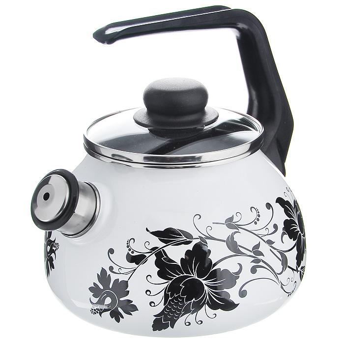Чайник Tango со свистком, цвет: белый, черный, 2 лVT-1520(SR)Чайник Tango изготовлен из высококачественного стального проката со стеклокерамическим покрытием. Корпус белого цвета оформлен изящным узором. Стеклокерамика инертна и устойчива к пищевым кислотам, не вступает во взаимодействие с продуктами и не искажает их вкусовые качества. Прочный стальной корпус обеспечивает эффективную тепловую обработку пищевых продуктов и не деформируется в процессе эксплуатации. Чайник оснащен черной пластиковой удобной ручкой. Крышка чайника выполнена из стекла с пароотводом, что позволяет сохранять тепло. Носик чайника с насадкой-свистком позволит вам контролировать процесс подогрева или кипячения воды. Чайник Tango пригоден для использования на всех видах плит, включая индукционные. Можно мыть в посудомоечной машине. Характеристики:Материал: нержавеющая сталь, пластик, стекло. Цвет: белый, черный. Объем: 2 л. Диаметр основания чайника: 18 см. Высота чайника (с учетом ручки): 22 см. Размер упаковки: 20 см х 25 см х 20 см. Артикул: 8RA12.
