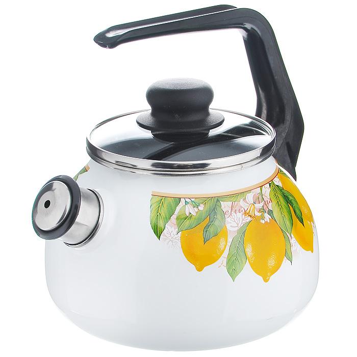 Чайник Limon со свистком, цвет: белый, черный, 2 лVT-1520(SR)Чайник Limon изготовлен из высококачественного стального проката со стеклокерамическим покрытием. Корпус белого цвета оформлен ярким изображением лимонов. Стеклокерамика инертна и устойчива к пищевым кислотам, не вступает во взаимодействие с продуктами и не искажает их вкусовые качества. Прочный стальной корпус обеспечивает эффективную тепловую обработку пищевых продуктов и не деформируется в процессе эксплуатации.Чайник оснащен черной пластиковой удобной ручкой. Крышка чайника выполнена из стекла с пароотводом, что позволяет сохранять тепло. Носик чайника с насадкой свистком позволит вам контролировать процесс подогрева или кипячения воды. Чайник Limon пригоден для использования на всех видах плит, включая индукционные. Можно мыть в посудомоечной машине. Характеристики:Материал: нержавеющая сталь, эмалевое покрытие, стекло. Цвет: белый, черный. Объем: 2 л. Диаметр основания чайника: 18 см. Высота чайника (с учетом ручки): 22 см. Размер упаковки: 20 см х 25 см х 20 см. Артикул: 8RA12.