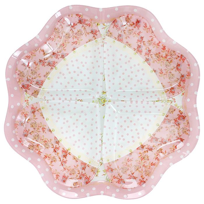 Менажница Lillo, 4 секции. 213380213380Менажница Lillo, изготовленная из высококачественного стекла, декорирована изящными узорами и бабочками. Менажница представлена в виде блюда с 4 съемными секциями в форме сердец. Некоторые блюда можно подавать только в менажнице, чтобы не произошло смешение вкусовых оттенков гарниров. Также менажница может быть использована в качестве посуды для нескольких видов салатов или закусок. Характеристики: Материал: фарфор. Размер менажницы: 28 см х 28 см х 1,5 см. Размер секции: 12 см х 12 см х 1 см. Размер упаковки: 29 см х 29 см х 3,5 см. Артикул: 213380.