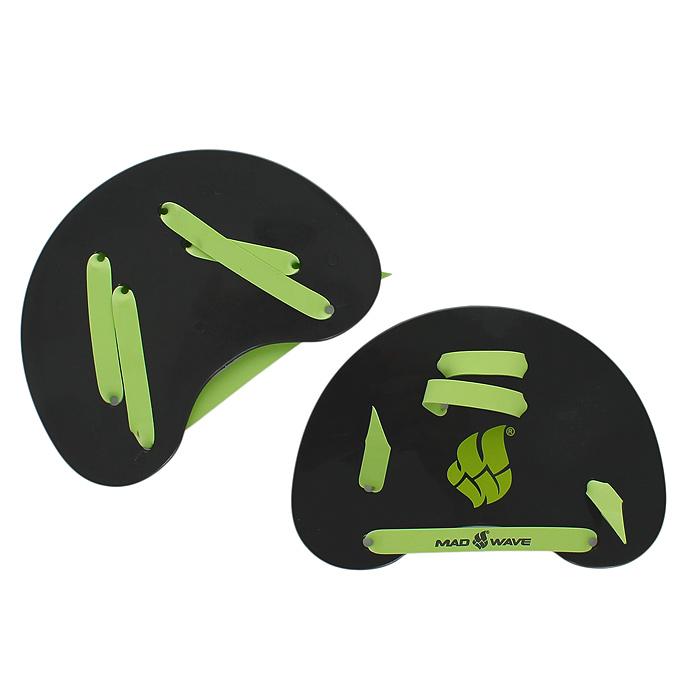 """Лопатки гребные MadWave """"Finger Paddles"""" для плавания, цвет: черный, зеленый M0745 05 0 00W"""