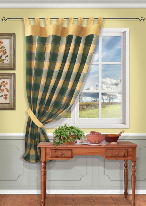 Штора Kauffort Вилла, на петлях, цвет: зеленый, высота 191 см10503Штора Kauffort Вилла выполнена из качественного материала, изготовленного из хлопка, полиэстера и акрила. Полотно выполнено из клетчатой ткани зеленого цвета и украшено широким желтым кантом по верху. Для более изящного расположения шторы на окне прилагается подхват из ткани желтого цвета.Качественный материал, оригинальный дизайн и приятная цветовая гамма привлекут к себе внимание и органично впишутся в интерьер помещения. Штора оснащена петлями для крепления на круглый карниз. Штора Kauffort Вилла станет великолепным украшением любого окна. Характеристики: Материал: 55% хлопок, 30% полиэстер, 15% акрил. Цвет: зеленый. Размер упаковки: 37 см х 27 см х 2,5 см. Артикул: UN111213650.В комплект входит: Штора - 1 шт. Размер (Ш х В): 140 см х 191 см (отклонение размера ~3 см). Подхват - 1 шт. Размер (Ш х В): 8 см х 70 см (отклонение размера ~3 см).