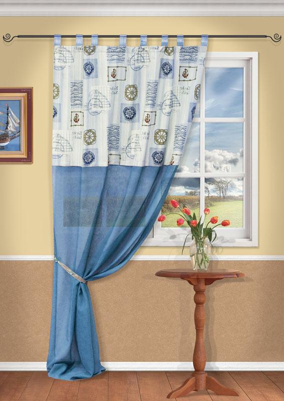 Штора Kauffort Адмирал, на петлях, цвет: голубой, высота 270 смUN111831640Штора Kauffort Адмирал выполнена из качественного материала, состоящего из хлопка и полиэстера. Верхняя часть шторы выполнена из плотного материала с рисунком на морскую тематику. Нижняя часть - из полупрозрачной сетчатой ткани голубого цвета. Качественный материал, оригинальный дизайн и приятная цветовая гамма привлекут к себе внимание и органично впишутся в интерьер помещения. Штора оснащена петлями для крепления на круглый карниз. Штора Kauffort Адмирал великолепно украсит любое окно. Характеристики: Материал: 25% полиэстер, 75% хлопок. Цвет: голубой. Размер упаковки: 37 см х 27 см х 3 см. Артикул: UN111831640. В комплект входит: Штора - 1 шт. Размер (Ш х В): 140 см х 270 см (отклонение размера ~ 1,5%). Уважаемые клиенты! Обращаем ваше внимание на тот факт, что подхват, изображенный на фотографии, в комплект не входит.