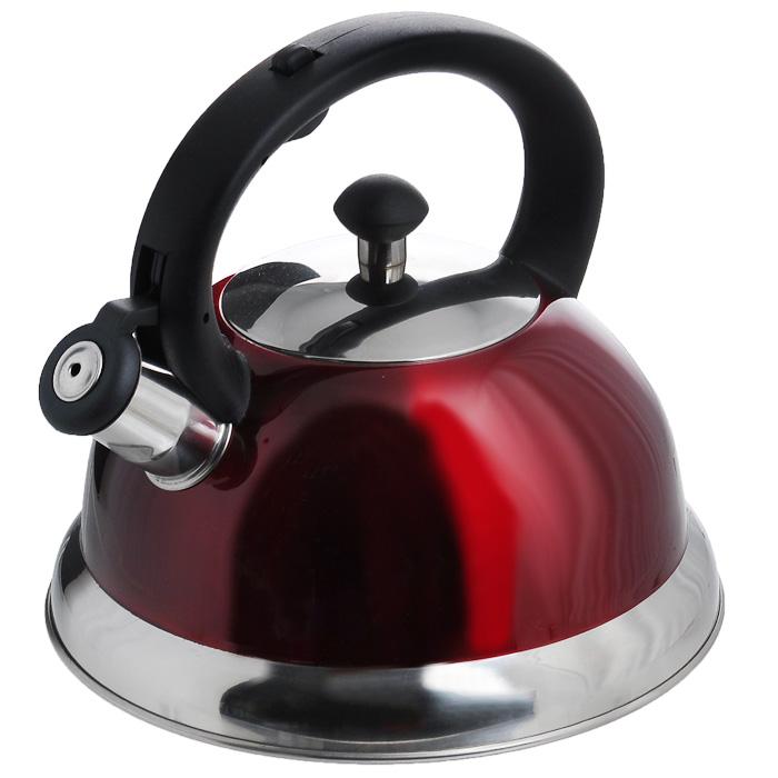 Чайник Appetite со свистком, цвет: красный, 2,5 л. HSK-H063CM000001328Чайник Appetite изготовлен из высококачественной нержавеющей стали с 3-х слойным термоаккумулирующим дном. Нержавеющая сталь обладает высокой устойчивостью к коррозии, не вступает в реакцию с холодными и горячими продуктами и полностью сохраняет их вкусовые качества. Особая конструкция дна способствует высокой теплопроводности и равномерному распределению тепла. Чайник оснащен черной пластиковой удобной ручкой, свистком и устройством для открывания носика. Чайник Appetite пригоден для использования на всех видах плит, кроме индукционных. Можно мыть в посудомоечной машине. Характеристики:Материал:нержавеющая сталь, пластик. Цвет:красный. Объем:2,5 л. Диаметр основания чайника: 22 см. Высота чайника (с учетом ручки):21 см. Размер упаковки: 22,5 см х 22,5 см х 21,5 см. Артикул: HSK-H063/красный.