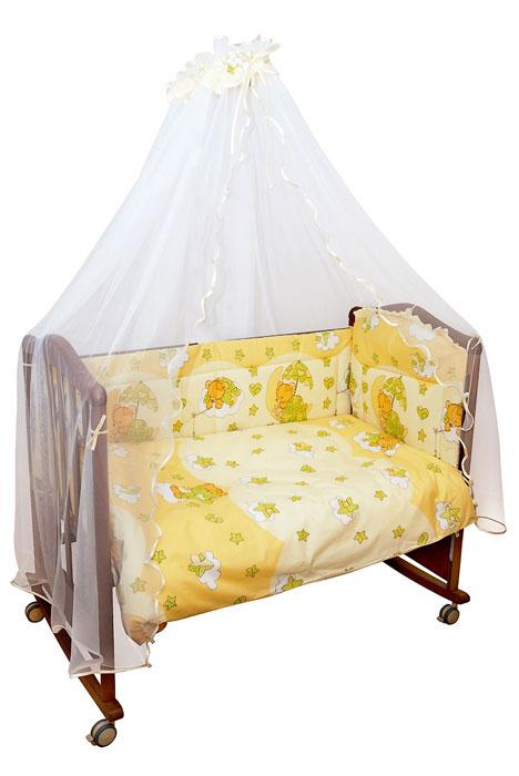 Комплект в кроватку Мишкин сон, цвет: бежевый, 7 предметов00000383_беж/703Комплект в кроватку Мишкин сон прекрасно подойдет для кроватки вашего малыша, добавит комнате уюта и согреет в прохладные дни. В качестве материала верха использован натуральный хлопок, мягкая ткань не раздражает чувствительную и нежную кожу ребенка и хорошо вентилируется. Бампер, подушка и одеяло наполнены холлконом - экологически безопасным гипоаллергенным синтетическим материалом, обладающим высокими теплозащитными свойствами. Элементы комплекта оформлены изображениями симпатичных медвежат. Комплект состоит из: бампера с несъемными чехлами, балдахина с сеткой, подушки с клапаном, одеяла, пододеяльника, наволочки, простыни. Для производства изделий Сонный гномик используются только высококачественные ткани ведущих мировых производителей. Благодаря особым технологиям сбора и переработки хлопка сохраняется естественная природная структура волокна. Характеристики: Материал: бязь,...