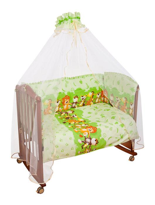 Комплект в кроватку Африка, цвет: светло-зеленый, 7 предметов731/3Комплект в кроватку Африка прекрасно подойдет для кроватки вашего малыша, добавит комнате уюта и согреет в прохладные дни. В качестве материала верха использован натуральный хлопок, мягкая ткань не раздражает чувствительную и нежную кожу ребенка и хорошо вентилируется. Наполнение одеяла и подушки из файберпласта - легкого синтетического абсолютно безопасного материала, благодаря которому они экологичны, гипоаллергенны, не деформируются и хорошо держат тепло. Бампер наполнен холлконом - экологически безопасным гипоаллергенным синтетическим материалом, обладающим высокими теплозащитными свойствами. Элементы комплекта оформлены изображениями веселых танцующих зверят. Комплект состоит из: бампера, балдахина с сеткой, подушки с клапаном, одеяла, пододеяльника, наволочки, простыни. Для производства изделий Сонный гномик используются только высококачественные ткани ведущих мировых производителей....