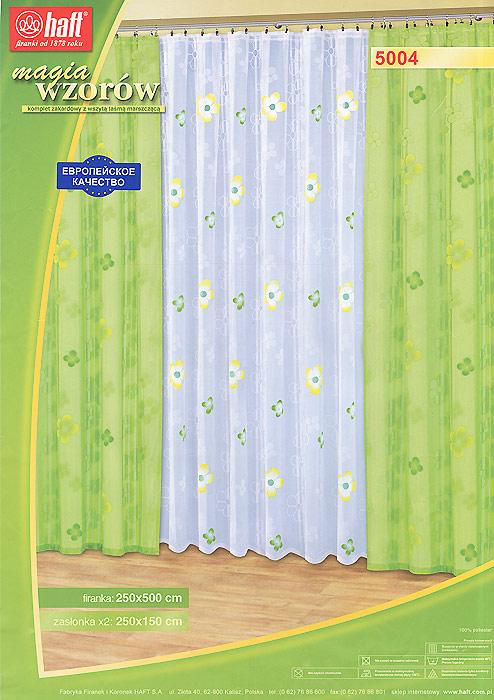 Комплект штор Haft, на ленте, цвет: белый, салатовый, высота 250 см. 451716S03301004Комплект штор Haft состоит из тюля и двух штор, украшенных цветочными узорами. Шторы выполнены из легкого полиэстера салатового цвета, тюль - из легкого полиэстера белого цвета.Тонкое плетение, изящный дизайн и яркая цветовая гамма привлекут к себе внимание и органично впишутся в интерьер помещения. Все предметы комплекта оснащены шторной лентой для собирания в сборки. Характеристики: Материал: 100% полиэстер. Цвет: белый, салатовый. Размер упаковки:43 см х 31 см х 9 см. Артикул: 451716.В комплект входят: Штора - 2 шт. Размер (Ш х В): 150 см х 250 см. Тюль - 1 шт. Размер (Ш х В): 500 см х 250 см. Текстильная компания Haft имеет богатую историю. Основанная в 1878 году в Польше, эта фирма зарекомендовала себя в качестве одного из лидеров текстильной промышленности в Европе. Еще в начале XX века фабрика Haft производила 90% всех текстильных изделий в своей стране, с годами производство расширялось, накопленный опыт позволял наиболее выгодно использовать развивающиеся технологии. Главный ассортимент компании - это тюль и занавески. Haft предлагает готовые решения дляваших окон, выпуская готовые наборы штор, которые остается только распаковать и повесить. Модельный ряд отличает оригинальный дизайн, высокое качество. Занавески, шторы, гардины Haft долговечны, прочны, практически не сминаемы, они не притягивают пыль и за ними легко ухаживать.Вся продукция бренда Haft выполнена на современном оборудовании из лучших материалов.