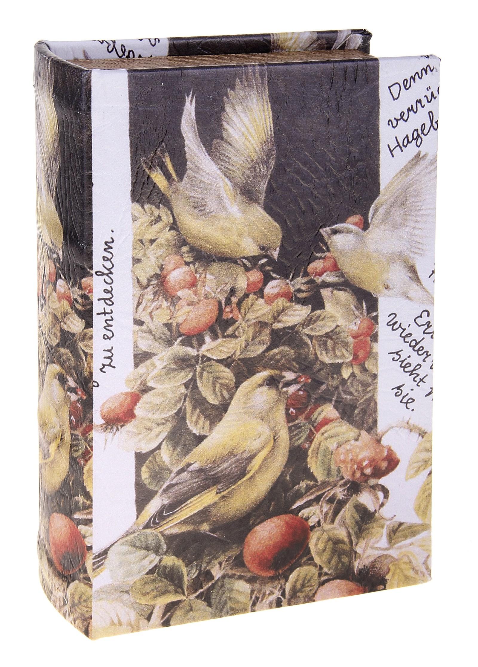 Шкатулка Иволга. 680689680689Шкатулка Иволга, выполненная в виде книги, не оставит равнодушной ни одну любительницу изысканных вещей. Шкатулка изготовлена из дерева и обтянута искусственной кожей с изображением птичек. Внутренняя поверхность шкатулки отделана искусственной кожей. Сочетание оригинального дизайна и функциональности сделает такую шкатулку практичным и стильным подарком, а также предметом гордости ее обладательницы. Характеристики: Материал: дерево, кожзаменитель. Размер шкатулки: 11 см х 17 см х 5 см. Внутренный размер шкатулки: 8 см х 14 см х 4 см. Размер упаковки: 12 см х 18 см х 6 см. Артикул: 680689.