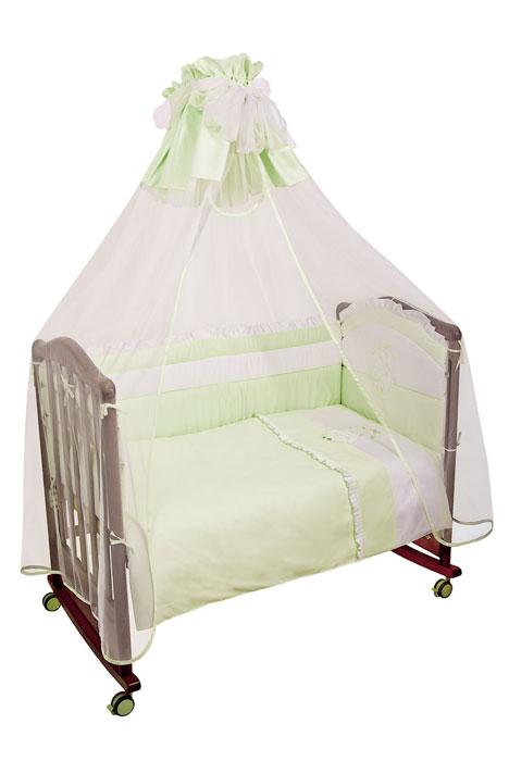 Комплект в кроватку Пушистик, цвет: зеленый, 7 предметовS03301004Комплект в кроватку Пушистик прекрасно подойдет для кроватки вашего малыша, добавит комнате уюта и согреет в прохладные дни.В качестве материала верха использован натуральный хлопок, мягкая ткань не раздражает чувствительную и нежную кожу ребенка и хорошо вентилируется.Наполнение одеяла и подушки из полиэстера и бамбука обеспечивает изделиям хорошую вентиляцию, они экологичны, гипоаллергенны, не деформируются, волокно не скатывается.Бампер наполнен холлконом - экологически безопасным гипоаллергенным синтетическим материалом, обладающим высокими теплозащитными свойствами. Бампер и одеяло оформлены вышивкой в виде зайчонка.Комплект состоит из: бампера с чехлами на молнии,балдахина с сеткой,подушки с клапаном,одеяла,пододеяльника,наволочки,простыни на резинке. Характеристики:Материал верха: сатин, 100% хлопок. Наполнитель бампера: холлкон. Материал сетки балдахина: 100% полиэстер. Наполнитель подушки и одеяла: 40% бамбук, 60% полиэстер. Размер бампера: 360 см х 42 см. Размер балдахина: 400 см х 185 см. Размер подушки: 60 см х 40 см. Размер одеяла: 140 см х 110 см. Размер пододеяльника: 144 см х 108 см. Размер наволочки: 60 см х 40 см. Размер простыни: 140 см х 100 см.