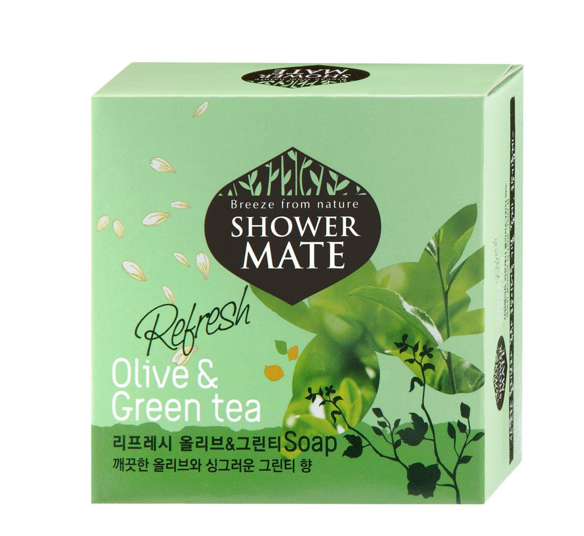 Shower Mate Мыло косметическое Оливки и зеленый чай, 100 г988084Богатый полезными веществами, экстракт оливы увлажняет и создает защитный слой для кожи. Катехины зеленого чая предотвращают преждевременное старение кожи, способствуют ее омоложению. Свежий аромат оливы и бодрящий аромат зеленого чая дарят ощущение прохлады и чистоты. Характеристики: Вес: 100 г. Артикул: 988084. Производитель: Корея. Товар сертифицирован.