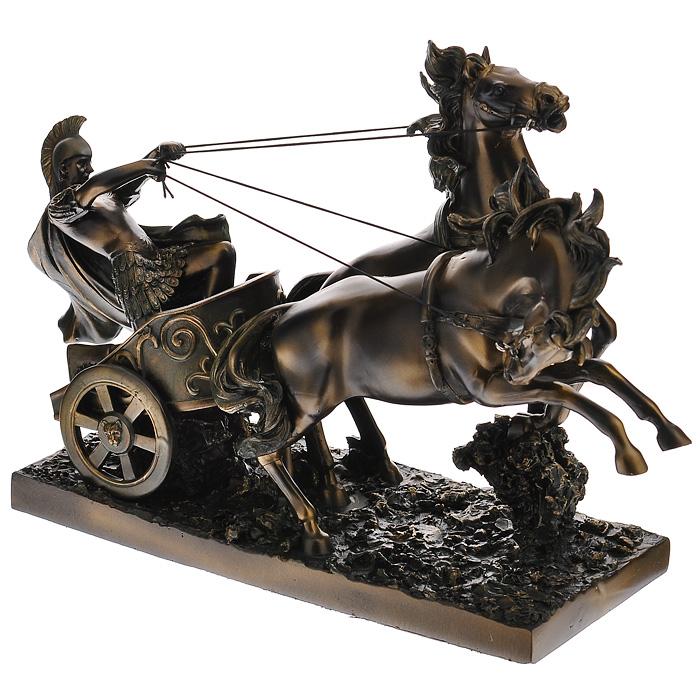 Статуэтка Римская колесница, высота 25 см127518Статуэтка Римская колесница, выполненная из полистоуна, станет отличным украшением интерьера вашего дома или офиса. Статуэтка выполнена в виде римской колесницы с двумя запряженными конями и управляющего колесницей римского воина. Вы можете поставить статуэтку в любом месте, где она будет удачно смотреться, и радовать глаз. Также она может стать оригинальным подарком вашим близким или коллегам.