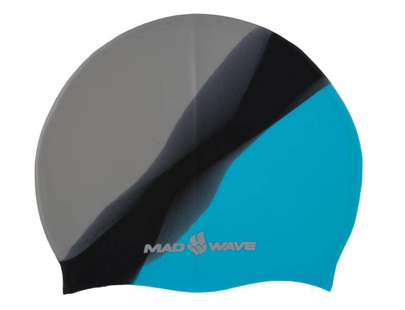 """Шапочка для плавания MadWave """"Multi Big"""", силиконовая, цвет: серый, черный, голубой M0531 11 2 08W"""