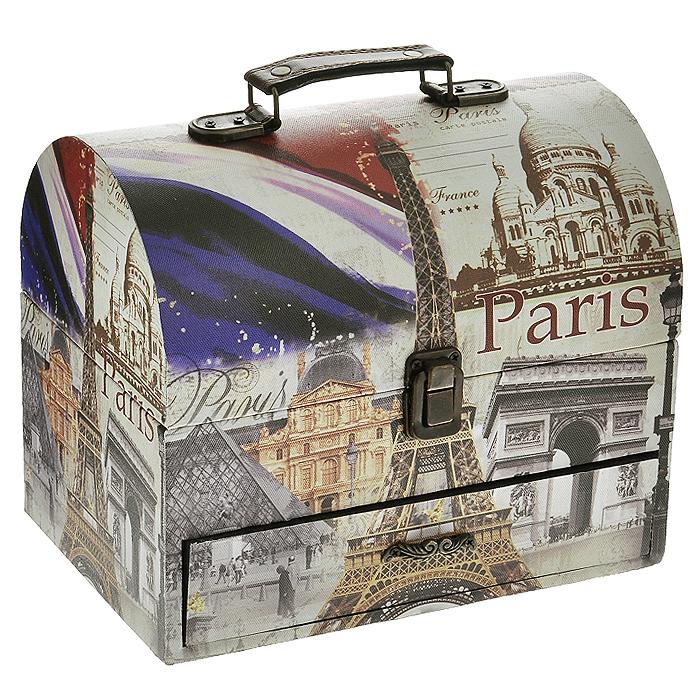 Шкатулка для хранения Paris, 24 см х 16 см х 20 см. TL1925TL1925Шкатулка для хранения Paris, выполненная из МДФ, оснащена удобным металлическим замком, металлическими креплениями и ручкой для удобной транспортировки шкатулки. Шкатулка обтянута по всей поверхности текстилем с изображением зданий и сооружений Парижа. Внутри шкатулки имеется одно вместительное отделение и выдвижной ящик для мелочей, также обтянутые текстилем. Шкатулка для хранения Paris станет оригинальным украшением интерьера и позволит хранить множество украшений, бижутерии, а также предметов шитья или рукоделия. Характеристики: Материал: МДФ, металл, текстиль. Размер шкатулки: 24 см х 16 см х 20 см. Размер внутренней части шкатулки: 22,5 см х 3,5 см х 14,5 см. Размер выдвижного ящика: 21 см х 3,5 см х 13,5 см. Артикул: TL1925.