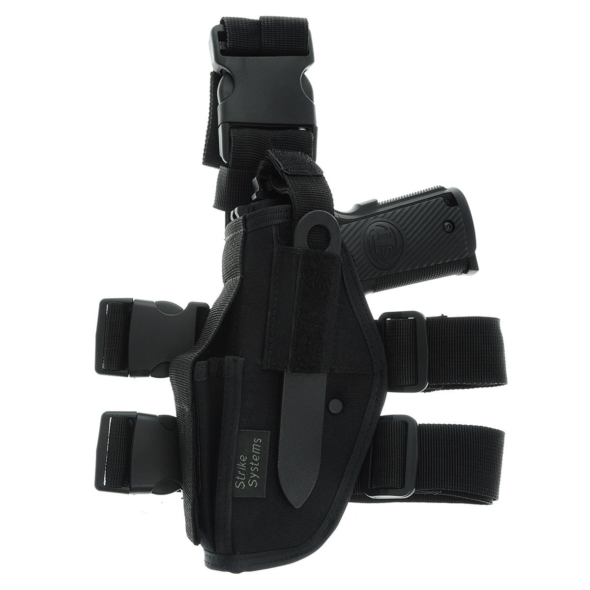 Кобура ASG набедренная для левши для M92, G17/18, STI, CZ, Steyr, Bersa, цвет: Black (17320)17320Кобура набедренная для пневматических и страйкбольных пистолетов серий M92, G17/18, STI, CZ, Steyr, Bersa (полноразмерные и среднеразмерные - Full Frame и Mid Frame) с подсумком для запасного магазина. Для левшей. Предназначена для ношения в тире и на полигоне. Показанные на фото оружие и аксессуары в комплект не входят. Не рассчитана на использование с боевым оружием. Регулируется по высоте. Застежка-фастекс для быстрого снятия. Два эластичных ремня с застежками для бедра. В комплекте приспособление для удобной регулировки. Двойные швы. Из износостойкого и влагостойкого нейлона. Возврат товара возможен только при наличии заключения сервисного центра. Время работы сервисного центра: Пн-чт: 10.00-18.00 Пт: 10.00- 17.00 Сб, Вс: выходные дни Адрес: ООО ГАТО, 121471, г.Москва, ул. Петра Алексеева, д 12., тел. (495)232-4670, gato@gato.ru Характеристики: Материал: нейлон,...