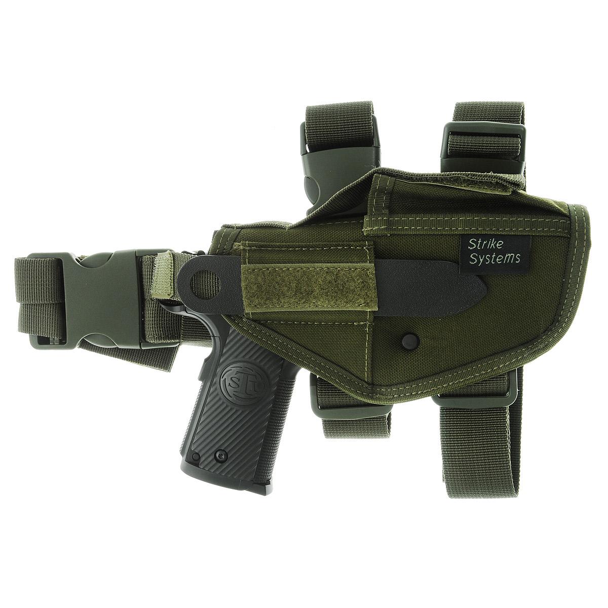 Кобура ASG набедренная для M92, G17/18, STI, CZ, Steyr, Bersa, цвет: Olive Drab (17319)17319Кобура набедренная для пневматических и страйкбольных пистолетов серий M92, G17/18, STI, CZ, Steyr, Bersa (полноразмерные и среднеразмерные - Full Frame и Mid Frame) с подсумком для запасного магазина. Предназначена для ношения в тире и на полигоне. Показанные на фото оружие и аксессуары в комплект не входят. Не рассчитана на использование с боевым оружием. Регулируется по высоте. Застежка-фастекс для быстрого снятия. Два эластичных ремня с застежками для бедра. В комплекте приспособление для удобной регулировки. Двойные швы. Из износостойкого и влагостойкого нейлона. Возврат товара возможен только при наличии заключения сервисного центра. Время работы сервисного центра: Пн-чт: 10.00-18.00 Пт: 10.00- 17.00 Сб, Вс: выходные дни Адрес: ООО ГАТО, 121471, г.Москва, ул. Петра Алексеева, д 12., тел. (495)232-4670, gato@gato.ru Характеристики: Материал: нейлон, пластик. Размер...