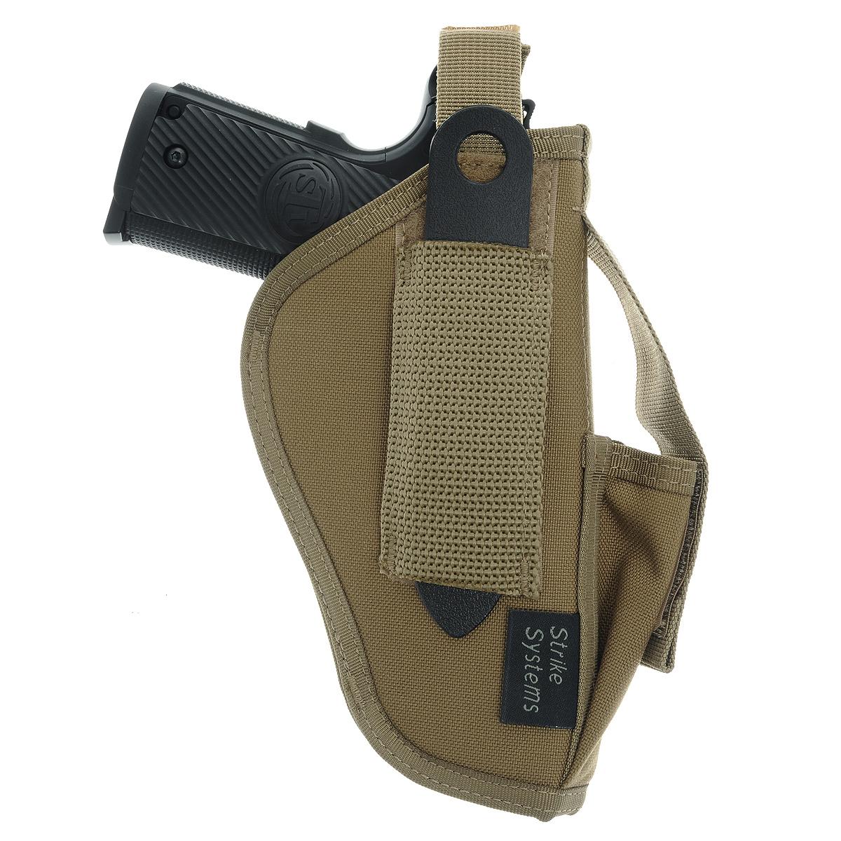 Кобура ASG поясная для M92, G17/18, STI, CZ, Steyr, Bersa, цвет: Tan (17018)17018Кобура поясная для пневматических и страйкбольных пистолетов серий M92, G17/18, STI, CZ, Steyr, Bersa (полноразмерные и среднеразмерные - Full Frame и Mid Frame) с подсумком для запасного магазина. Предназначена для ношения в тире и на полигоне. Показанные на фото оружие и аксессуары в комплект не входят. Не рассчитана на использование с боевым оружием. Подходит для левшей и правшей; В комплекте приспособление для удобной регулировки; Двойные швы; Из износостойкого и влагостойкого нейлона. Возврат товара возможен только при наличии заключения сервисного центра. Время работы сервисного центра: Пн-чт: 10.00-18.00 Пт: 10.00- 17.00 Сб, Вс: выходные дни Адрес: ООО ГАТО, 121471, г.Москва, ул. Петра Алексеева, д 12., тел. (495)232-4670, gato@gato.ru Характеристики: Материал: нейлон. Размер кобуры: 23 см х 14 см х 5 см. Размер упаковки: 23 см х 22 см х 5 см. Артикул:...