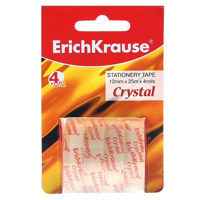 """Erich Krause Клейкая лента Erich Crause """"Crystal"""", цвет: прозрачный, 4 шт 19611"""