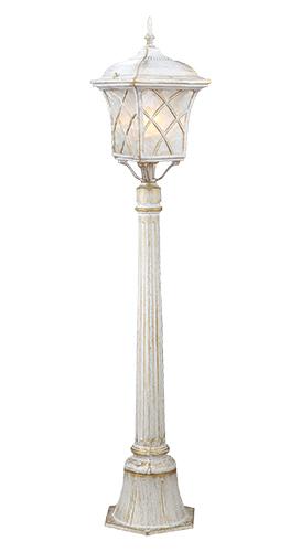 Светильник садово-парковый Прованс на столбе. L&L6180AL&L6180AУличный светильник с патинированной отделкой Luck & Light Прованс, имитирующей выгоревшую на солнце поверхность, создаёт стиль провинциальных французских домов. Рассеиватель из матового стекла с решёткой делает свет мягким для глаз. Характеристики: Материал: металл, стекло. Количество ламп: 1 (не входит в комплект). Размер светильника: 111 см х 19 см. Размер упаковки: 100 см х 23 см х 20 см. Степень зашиты: IP44.