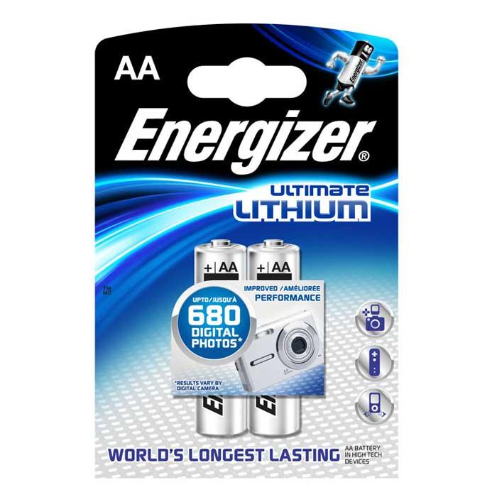 Батарейка литиевая ENERGIZER Ultim Lithium, тип АА, 2 штAG13-10Батарейка литиевая ENERGIZER Ultim Lithium имеет непревзойденную емкость и вес на 33% меньше стандартных алкалиновых батареек.Не содержит ртути и кадмия. Характеристики:Тип элемента питания: литиевый. Выходное напряжение: 1,5 В. Размер батарейки: 1,5 см х 1,5 см х 5 см. Размер упаковки: 8 см х 11,5 см х 1,5 см. Изготовитель: Сингапур.