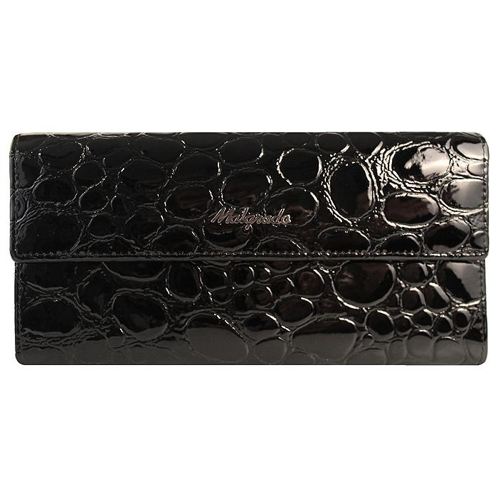 Кошелек женский Malgrado, цвет: черный. 72044-1-38401#72044-1-38401# BlackСтильный кошелек Malgrado изготовлен из натуральной лакированной кожи черного цвета с декоративным тиснением и вмещает в себя купюры в развернутом виде в полную длину. Внутри содержит пять основных отделений, одно из которых закрывается на кнопку, внутри расположено десять кармашков для карточек, визиток или кредиток и одно с прозрачным окошком, одно горизонтальное отделение и еще одно отделение на защелке для мелочи. С оборотной стороны расположен карман на молнии. Закрывается кошелек клапаном на кнопку. Кошелек упакован в подарочную металлическую коробку с логотипом фирмы. Такой кошелек станет замечательным подарком человеку, ценящему качественные и практичные вещи. Характеристики: Материал: натуральная кожа, текстиль, металл. Размер кошелька: 18 см х 9 см х 3 см. Цвет: черный. Размер упаковки: 23 см х 12,5 см х 4,5 см. Артикул: 72044-1-38401#.