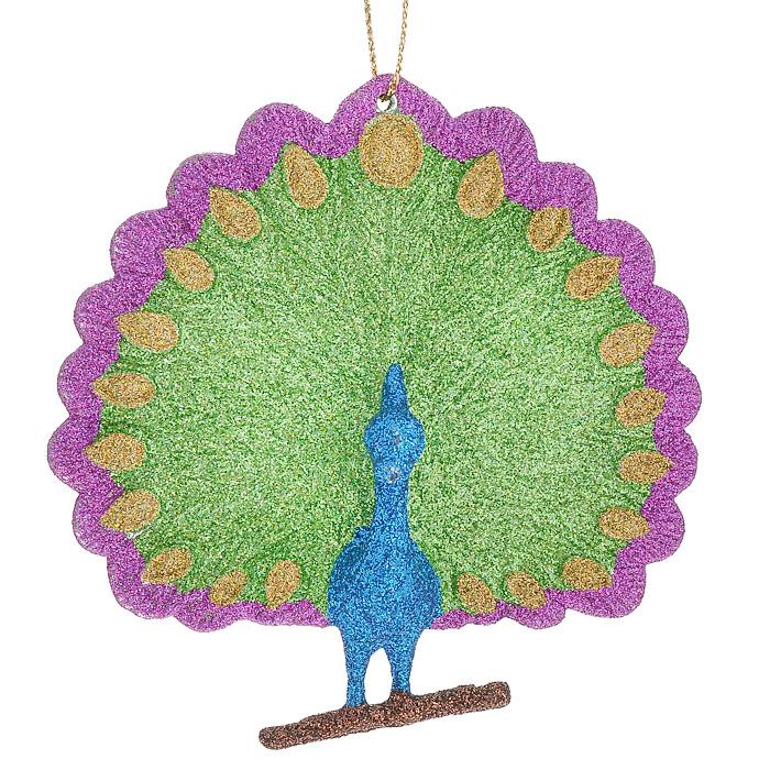 Новогоднее подвесное украшение Павлин. 3066430664Оригинальное новогоднее украшение выполнено из пластика в виде павлина, украшенного разноцветными блестками. С помощью специальной петельки украшение можно повесить в любом понравившемся вам месте. Но, конечно же, удачнее всего такая игрушка будет смотреться на праздничной елке. Новогодние украшения приносят в дом волшебство и ощущение праздника. Создайте в своем доме атмосферу веселья и радости, украшая всей семьей новогоднюю елку нарядными игрушками, которые будут из года в год накапливать теплоту воспоминаний. Коллекция декоративных украшений из серии Magic Time принесет в ваш дом ни с чем несравнимое ощущение волшебства! Характеристики: Материал: пластик, текстиль. Размер украшения: 10 см х 10 см х 2,5 см. Артикул: 30664.