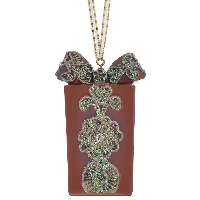 """Феникс-Презент Новогоднее подвесное украшение """"Подарок"""", цвет: красно-коричневый. 25968"""