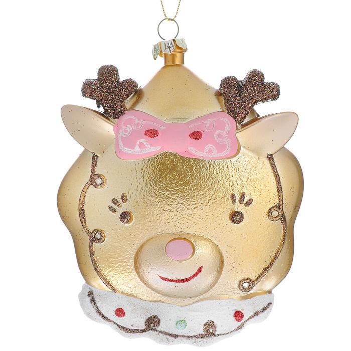 Новогоднее подвесное украшение Олень, цвет: золотистый. 2588725887Оригинальное новогоднее украшение Олень прекрасно подойдет для праздничного декора дома и новогодней ели. Украшение выполнено из пластика и оформлено блестками. Благодаря плотному корпусу изделие никогда не разобьется, поэтому вы можете быть уверены, что оно прослужит вам долгие годы. С помощью текстильной петельки его можно повесить в любом понравившемся вам месте. Но, конечно, удачнее всего такая игрушка будет смотреться на праздничной елке. Елочная игрушка - символ Нового года. Она несет в себе волшебство и красоту праздника. Создайте в своем доме атмосферу веселья и радости, украшая новогоднюю елку нарядными игрушками, которые будут из года в год накапливать теплоту воспоминаний. Коллекция декоративных украшений из серии Magic Time принесет в ваш дом ни с чем несравнимое ощущение волшебства! Характеристики: Материал: пластик, текстиль, блестки. Размер украшения (ДхШхВ): 9 см х 3 см х 12 см. Цвет: золотистый. Артикул: 25887.