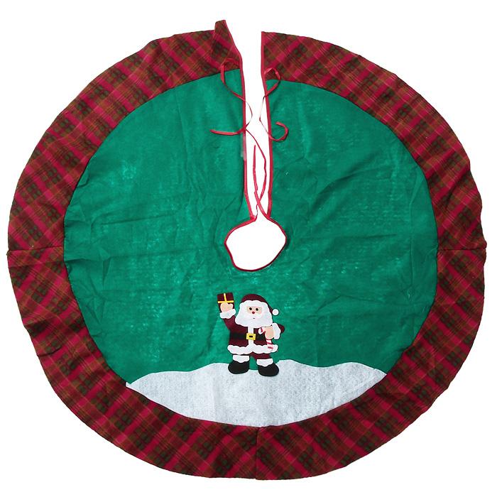Новогоднее украшение Юбка для ели. 3209532095Новогоднее украшение Юбка для ели выполнено из синтетического фетра и текстиля. Украшение представляет собой юбку зеленого цвета с клетчатой вставкой по краю. Юбка украшена аппликациями и предназначена для декорирования праздничной ели. Также с помощью данной юбки вы сможете изящно задрапировать основание ели. Удобные завязочки позволят быстро и комфортно украсить вашу ель. Новогодние украшения приносят в дом волшебство и ощущение праздника. Создайте в своем доме атмосферу веселья и радости с таким оригинальным новогодним украшением.