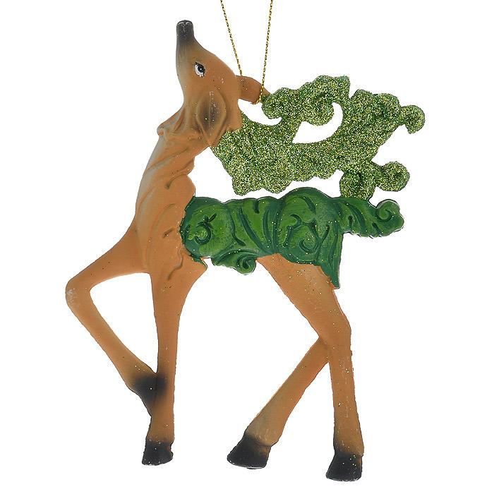 Новогоднее подвесное украшение Олень, цвет: бежевый. 2587325873Оригинальное новогоднее украшение «Олень» прекрасно подойдет для праздничного декора дома и новогодней ели. Украшение выполнено из пластика и оформлено зелеными блестками. С помощью специальной петельки его можно повесить в любом понравившемся вам месте. Но, конечно, удачнее всего такая игрушка будет смотреться на праздничной елке. Елочная игрушка - символ Нового года. Она несет в себе волшебство и красоту праздника. Создайте в своем доме атмосферу веселья и радости, украшая новогоднюю елку нарядными игрушками, которые будут из года в год накапливать теплоту воспоминаний. Коллекция декоративных украшений из серии Magic Time принесет в ваш дом ни с чем несравнимое ощущение волшебства! Характеристики: Материал: пластик, блестки, текстиль. Цвет: бежевый. Размер украшения: 9 см х 12,5 см. Артикул: 25873.