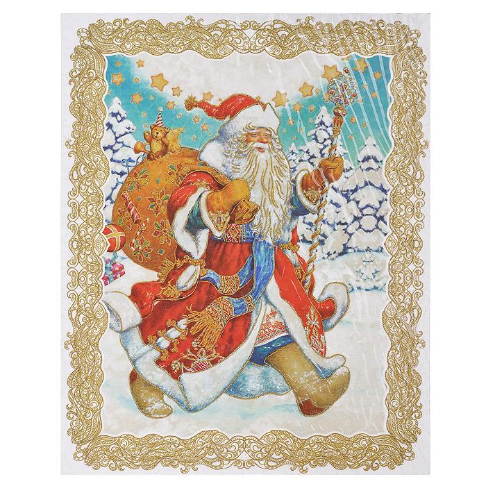 Новогоднее оконное украшение Дед Мороз. 31251A6483LM-6WHНовогоднее оконное украшение представляет собой красивую наклейку, оформленную изображением веселого Деда мороза с мешком подарков. Наклейка декорирована глиттером (золотистыми блестками). Крепится к гладкой поверхности стекла посредством статического эффекта. После использования не оставляет следов на окнах. Новогодние наклейки помогут вам украсить интерьер дома к предстоящим праздникам и почувствовать волшебную атмосферу Нового года. Наклейте украшения на стекла и наслаждайтесь прекрасным видом из окна. Коллекция декоративных украшений из серии Magic Time принесет в ваш дом ни с чем несравнимое ощущение волшебства! Характеристики:Материал: ПВХ пленка, блестки. Размер наклейки: 30 см х 38 см. Размер упаковки: 30 см х 44 см х 0,5 см. Артикул: 31251.