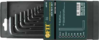 Набор шестигранных Fit, 9 шт, 1,5-10 мм64185Набор ключей шестигранных ключей, изготовленных из высококачественной термообработанной хром-ванадиевой стали. Характеристики: Материал: сталь. Размеры ключей: 1,5 мм, 2 мм, 2,5 мм, 3 мм, 4 мм, 5 мм, 6 мм, 8 мм, 10 мм. Размер упаковки: 15 см x 9,5 см x 1,5 см.