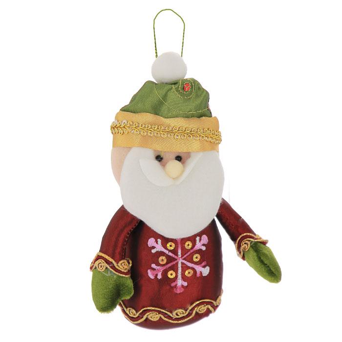 Новогоднее подвесное украшение Санта-Клаус, цвет: бордовый, зеленый. 2654026540Подвесное украшение Санта-Клаус выполнено из полиэстера и декорировано пайетками, вышивкой и золотистой тесьмой. С помощью специальной петельки украшение можно повесить в любом понравившемся вам месте. Но, конечно, удачнее всего такая игрушка будет смотреться на праздничной елке. Забавный Санта порадует ваших близких и друзей, создаст в доме веселую новогоднюю атмосферу! Характеристики: Материал: полиэстер. Цвет: бордовый, зеленый. Размер украшения: 11 см х 18 см х 5 см. Размер упаковки: 20 см х 13 см х 5 см. Артикул: 26540.